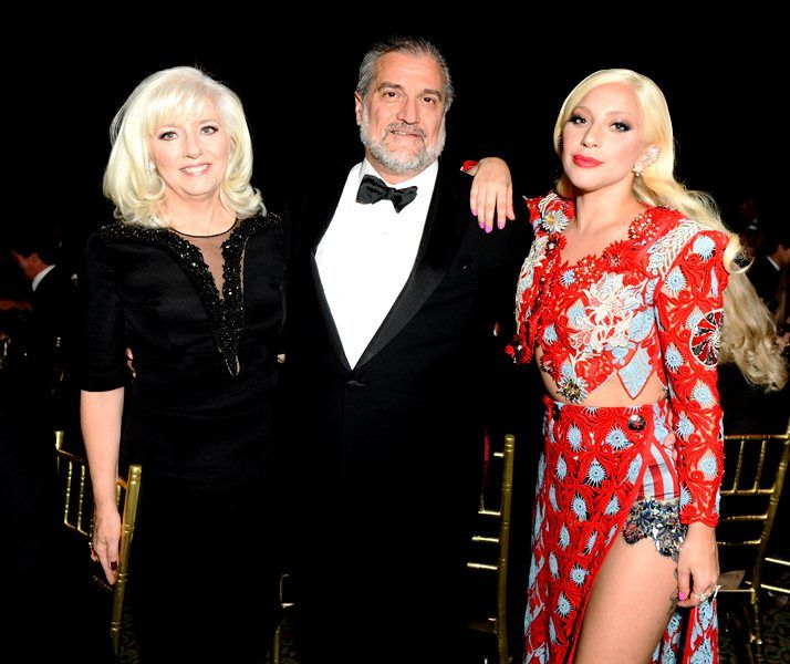 Lady Gaga with her father Joe Germanotta and her mother Cynthia Germanotta