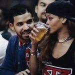 Rihanna and Drake at a sports event