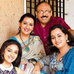 Keerthy Suresh with her parents and sister